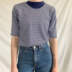 Vintage 80s 90s Navy Blue White Striped T-shirt